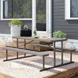 Simple Interior Outdoor Picnic Table - Contemporary Folding Picnic Bench - Plastic/Resin Construction - Patio, Lawn, Garden Furniture Dining Set