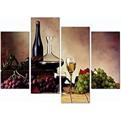 "Sea Charm - Vintage Red Wine and Grape Canvas Wall Art Stretched and Framed Still Life Painting Print for Kitchen Restaurant Decor (12""X24""x2pcs+12""x32""x2pcs)"