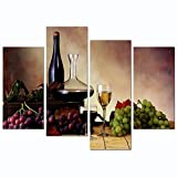 Sea Charm - Vintage Red Wine and Grape Canvas Wall Art Stretched and Framed Still Life Painting Print for Kitchen Restaurant Decor (12''X24''x2pcs+12''x32''x2pcs)