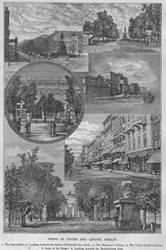 BERLIN. Unter den Linden. Opernplatz Emperor's Gallery Brandenburg Gate - 1882 - old print - antique print - vintage print - Germany art ()
