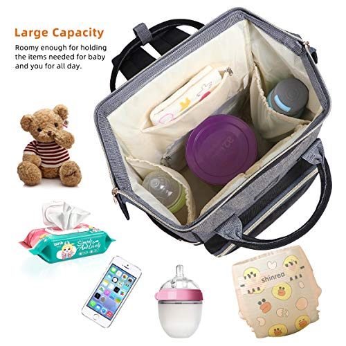 Landuo Diaper Bag Multi-Function Waterproof Travel Backpack Nappy Bags for Baby Care, Large Capacity, Stylish and Durable (Grey-Black)
