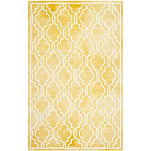 Ivory Gold Area Rugs (Safavieh Dip Dye Collection DDY539H Handmade Geometric Moroccan Watercolor Gold and Ivory Wool Area Rug (3' x 5'))