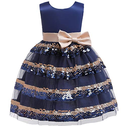 Girls Dress Backless Floral Flare Sleeve Bow Kids Dresses for Girls Princess Dress,Navy2,6 -