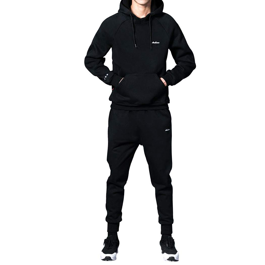 Modern Fantasy Men's Casual Activewear Tracksuits Jackets/Hoodie & Pants Set Jogging Sweat Suit Black XS by Modern Fantasy