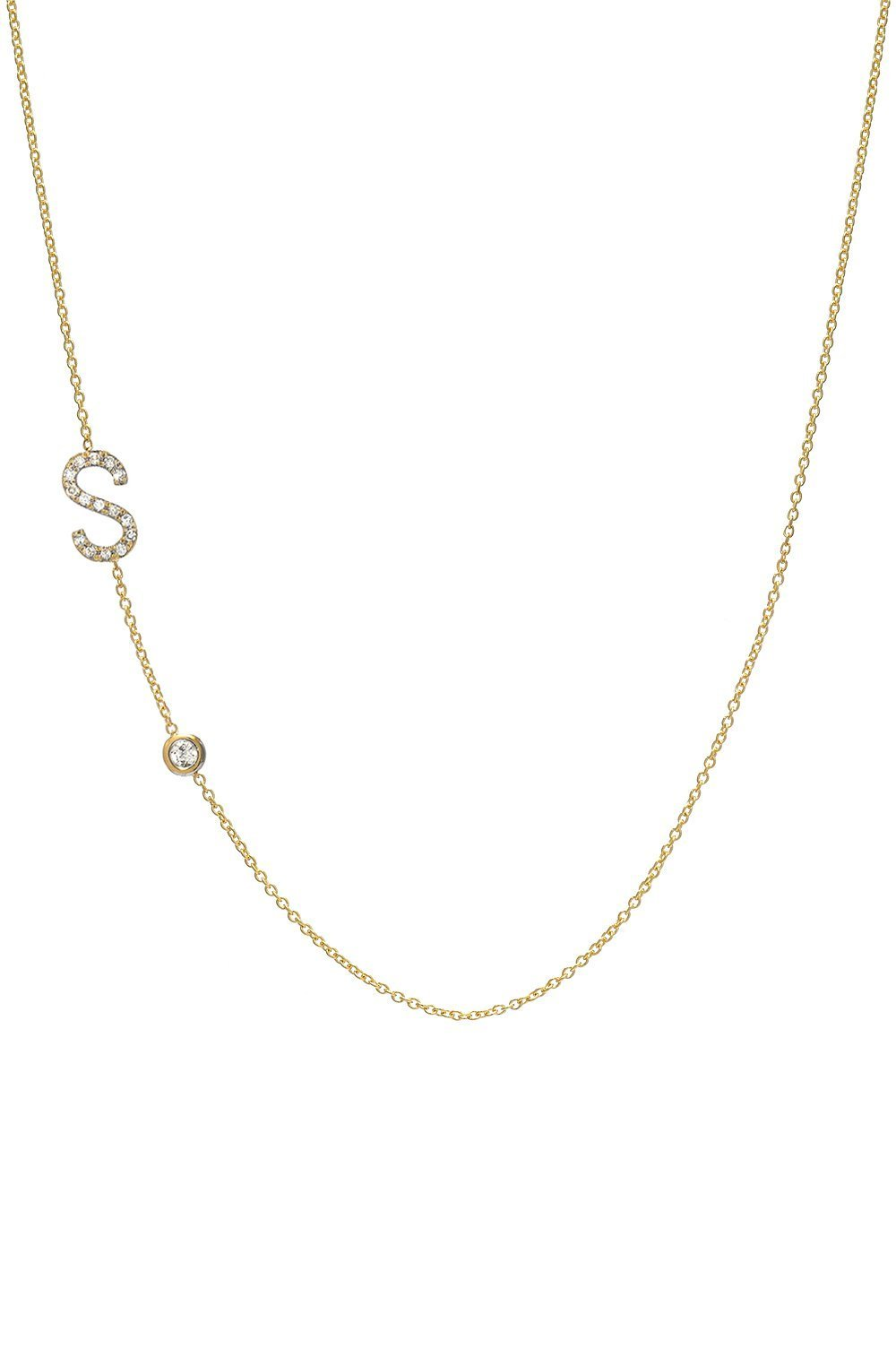 Diamond letter necklace, 14k gold, pave diamond