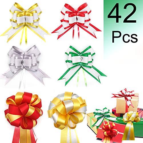 Christmas Gift Pull Bows, ZALALOVA Gift Ribbons Bows Sets 42Pcs 6 Assorted Glittering Ribbons and Bows for Christmas Wedding Birthday Valentines Day Memorials Gift Wrapping