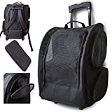 Marketworldcup Pet Carrier Dog Cat Rolling Back Pack Travel Airline Wheel Luggage Bag Pouch BLACK