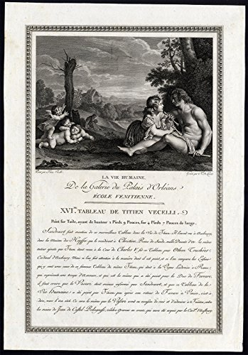 Antique Print-STAGES OF HUMAN LIFE-FLUTE-CHERUB-Vecellio-de Launay-1786 - Cherub Flute