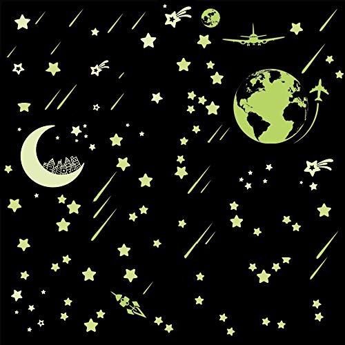 - Glow in The Dark 74 Stars 1 Earth 1 Moon 23 Meteors Stickers for Kids Bedroom Walls & Ceiling of Starry Night Sky Meteor Luminous Star Wall Stickers for Kids for Ceiling Baby Bedroom Decal
