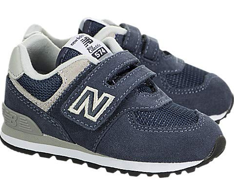 New Balance Boy's 574v1 Essentials Hook and Loop Sneaker,  Navy/Grey, 6.5 M US Toddler