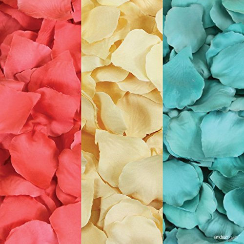 Andaz Press Silk Fabric Rose Petals Table Decorations, Coral, Ivory, Diamond Blue, 600-Pack, Colored Wedding Baby Bridal Shower Party Supplies