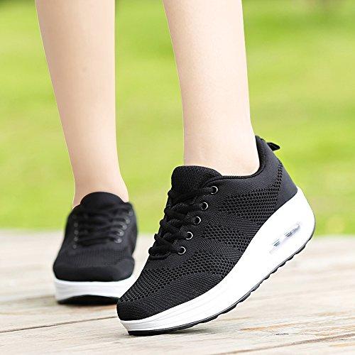 Femme Baskets Chaussures de Running Sport Mode Chaussures Casual Marcher Respirantes Compensées pour Femme Gym Fitness Sneakers Noir JXZFb1sOaT