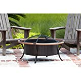 Fire Sense Rail Fire Pit with Screen and Lift Tool for Patio or Backyard