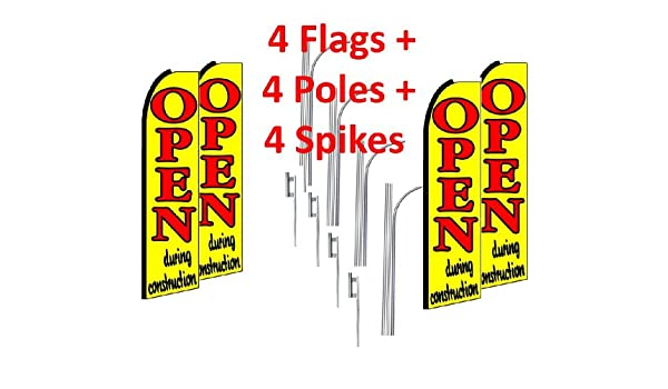 4 four FURNITURE SALE red//wh//bl 15/' x 3/' WINDLESS SWOOPER FLAGS KIT