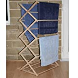 JVL Wooden Clothes Airer Folding Concertina Wood Airer by Bargains Hut