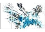 Designart Soccer Power Kick Metal Wall Art - MT2516 - 48x28 - 4 Panels