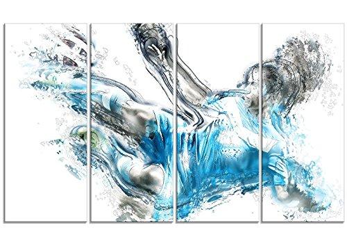 Designart Soccer Power Kick Metal Wall Art - MT2516 - 48x28 - 4 Panels by Design Art