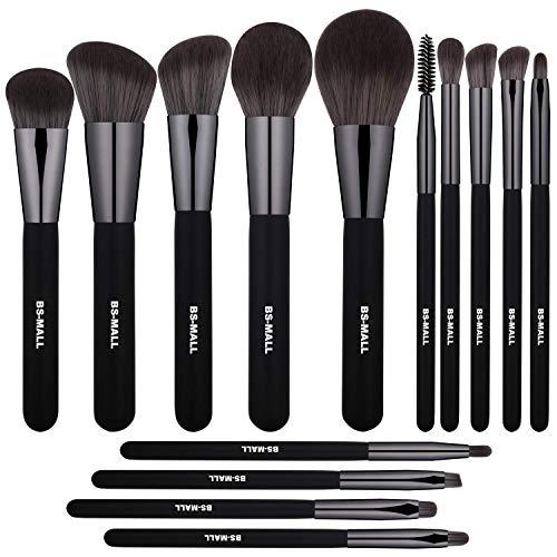 Brush Powder Black - BS-MALL Makeup Brushes Premium Synthetic Foundation Powder Concealers Eye Shadows Silver Black Makeup Brush Sets(14 Pcs, Black)