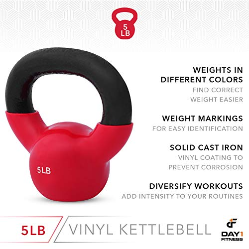 Day 1 Fitness Kettlebell Weights Vinyl Coated Iron 5 Pounds - Coated for Floor and Equipment Protection, Noise Reduction - Free Weights for Ballistic, Core, Weight Training by Day 1 Fitness (Image #4)