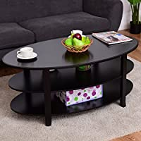 Tangkula Coffee Table 3 Tier Oval Shaped with Solid Wood Flared Legs End Table Tea Table