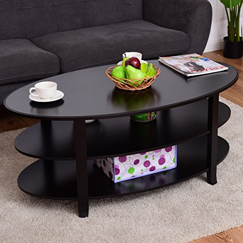 Tangkula Coffee Table 3 Tier Oval Shaped with Solid Wood Fla