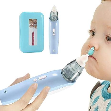 xcvbw Aspirador nasal para bebés Succionador de mocos Bebé Limpiador de nariz Succión eléctrica Nariz congestionada La combinación de boquilla se puede plegar, azul: Amazon.es: Bebé
