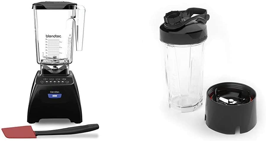 Blendtec Classic 575 Blender - WildSide+ Jar (90 oz) and Spoonula Spatula BUNDLE - 5-Speeds - Black & GO Cup (34 oz), Travel Bottle, Reusable Single Serve Blender Cup, Travel Lid, BPA-free Jar, Clear