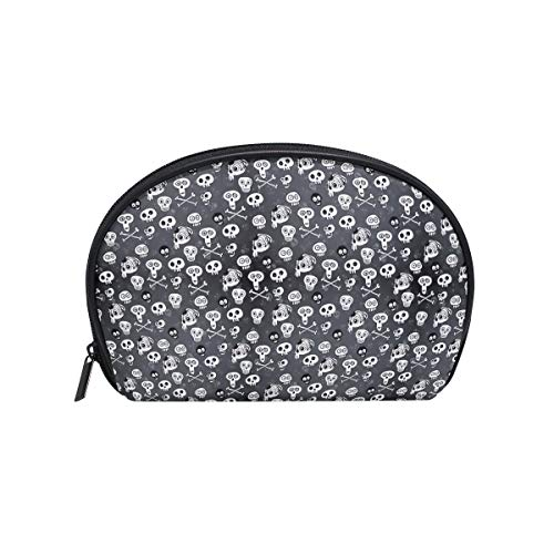 Half Moon Cosmetic Beauty Bag Skull Halloween Monochrome Travel Handy Organizer Pouch Novel Cosmetic -