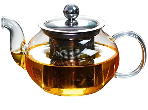 Yiwj Glass Teapot with Stainless Steel Infuser - Borosilicate Glass Tea Pots,27 Ounce / 800 ml (800ml)