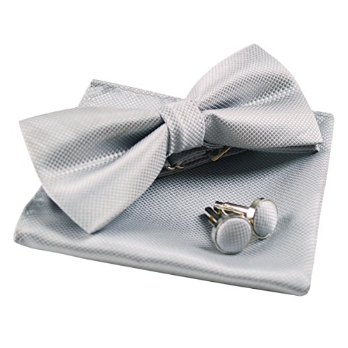 Mens Solid Formal Banded Pre-Tied Bow Ties Set-Silver]()