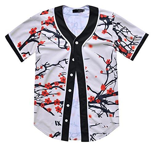 PIZOFF Unisex Arc Bottom 3D Wintersweet Print Baseball Team Jersey Shirt Y1724-94-S -