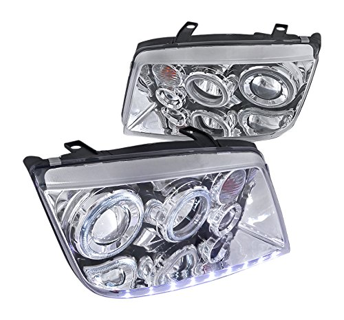 Spec-D Tuning LHP-JET99-APC For Volkswagen Jetta Halo LED Projector Headlights Chrome Pair