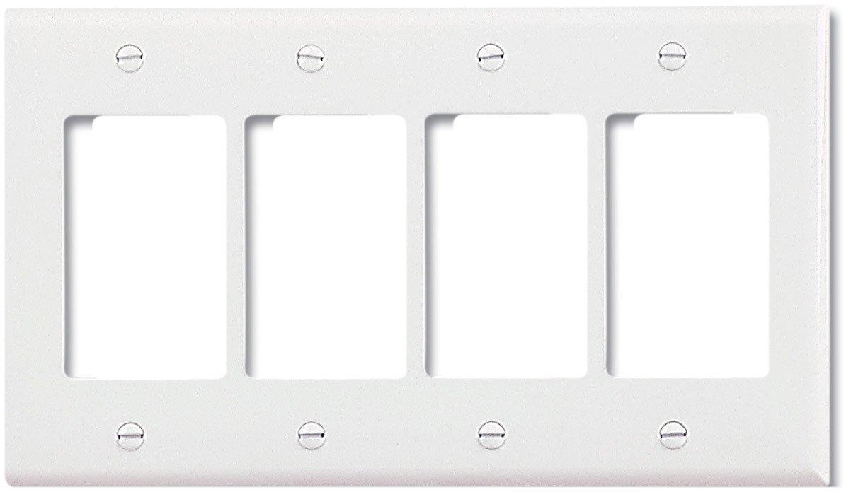 White EATON Wiring PJ264W Mid-Size Polycarbonate 4-Gang Decorator GFCI Wallplate