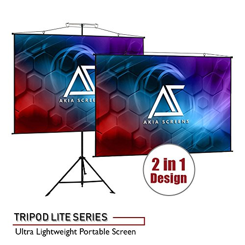 Tripod Elite Projection (Akia Screens Dual Tripod / Wall Hang, 110-inch, 4:3, Ultra Lite 11 lbs. Portable Indoor Outdoor Projector Screen with Carrying Bag)