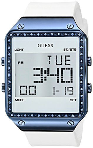 GUESS Women's U0700L3 Digital White Silicone Watch with Alarm, Dual Time Zone and Chronograph Functions