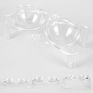 Adjustable Raised Pet Bowls - Elevated Pet Bowl Clear Acrylic Feeder Stand with 2 Set Removable Stainless Steel and Glass Bowls,Height Available in 4