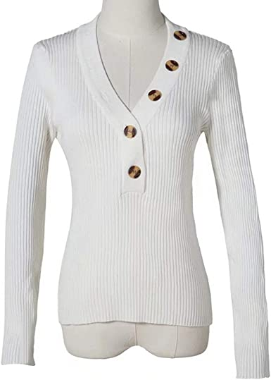 Color : White, Size : S ADLISA Womens Long Sleeve Button V Neck Solid Color Ribbed Knit Pullover Slim Sweater Crop Tops