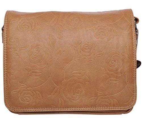 JOSYBAG Ledertasche KANSAS - safari/ Rosen Tasche handgefertigt braun natur