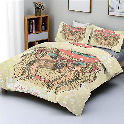 Corvette Round Earring - Duplex Print Duvet Cover Set King Size,Be Cute Portrait of an Adorable Dog with Earrings Necklace Glasses Hat MakeupDecorative 3 Piece Bedding Set with 2 Pillow Sham,Light Brown Coral,Best Gift For Ki