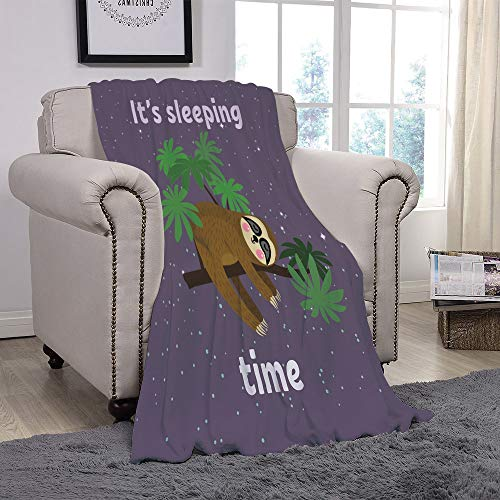 - YOLIYANA Light Weight Fleece Throw Blanket/Sloth,Cute Cartoon Character Sleeping on Branch Jungle Animal in Night Sky Kids Theme,Plum Brown Green/for Couch Bed Sofa for Adults Teen Girls Boys