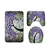 Happiness Tree Carving Non Slip 3 Piece Bathroom Mat Sets, Bath Mat + Pedestal Mat + Toilet Seat Cover Mat (Color : Purple Carving)