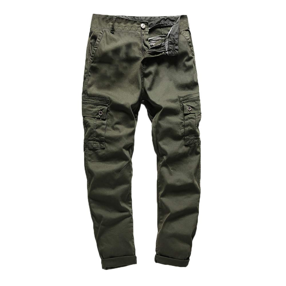PASATO Men's Casual Tactical Military Army Combat Outdoors Work Trousers Cargo Pants, Clearance Sale(Army, 36