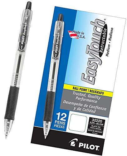 PILOT EasyTouch Refillable & Retractable Ballpoint Pens, Medium Point, Black Ink, 12 Count (32220) - New