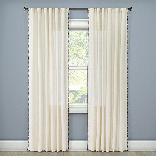 Panel Stitched - threshold Stitched Edge Curtain Panel White