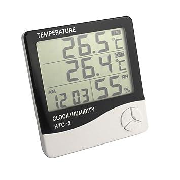 Digital LCD Temperatur Thermometer Hygrometer Luftfeuchtigkeit·Meter Uhr HTC-2 x
