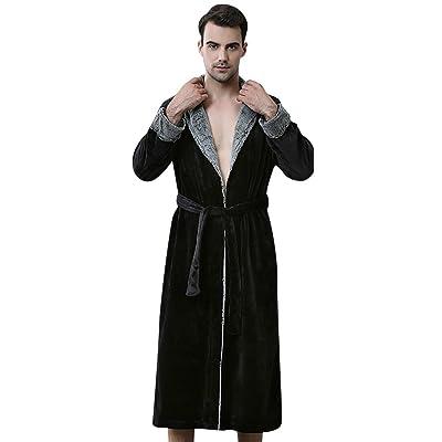 Necuv Mens Long Comfort Bathrobes Flannel Soft Pajamas Thermal Robe