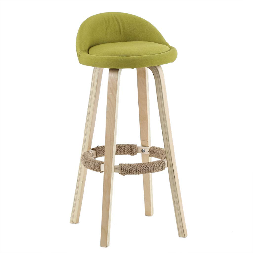 Green 60cm Solid Wood Bar Stool, Simple Backrest High Stool, High Rebound Sponge Filling + Fabric Leather Cushion, for Kitchen   Breakfast   Counter   Conservatory   Café   Pub