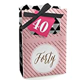 Big Dot of Happiness Chic 40th Birthday - Pink, Black and Gold - Birthday Party Favor Boxes - Set of 12