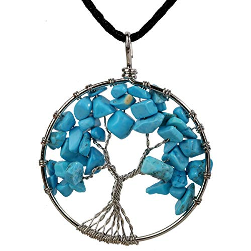 Turquoise Tree of Life Gemstone Pendant Necklace Wire Wrapped Filigree Natural Stone Blue December Birthstone Healing Chakra Spiritual Raw Stone Handcrafted Jewelry for Women Men 18