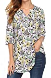 Naggoo Womens Floral Printed 3/4 Sleeve Tunic Tops Notch Neck Pintuck Casual Blouses